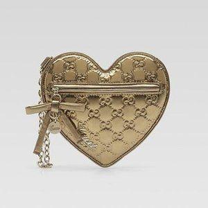Gucci Guccissima Leather Gold Heart Wristlet